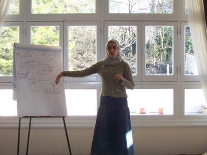 Trainee Lujain Aljazaerly is preparing for the test.