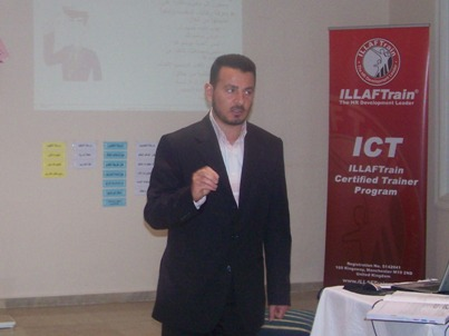 Ma'moun Alkadri, the assistant trainer, is having the ICT course test