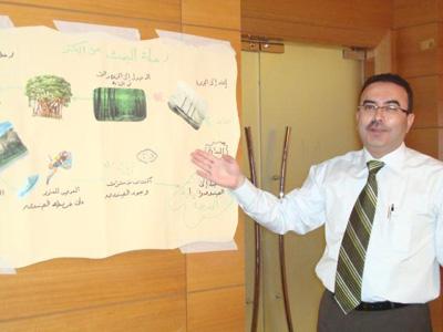 المدرب أحمد الخطيب يُوَضِّح على الخريطة أي المراحل وصلت إليها الدورة (رحلة البحث عن الكنز)