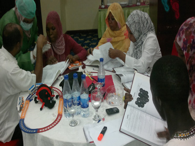 A serious searching for answers between trainees.