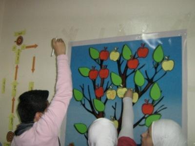 المتعلمون يكتبون ما استفادوه من الدورة على التفاحات ويعلقونها على الشجرة.