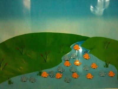 النهر وتظهر فيه الأسماك وخلفها أسئلة من الدورة.