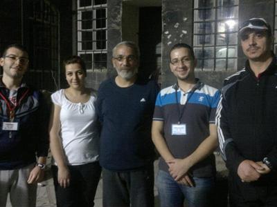 trainer Ahmed Kheir al-Saadi, assistant trainer Mohammad Ziad Wattar, Mohammed Azzam al-Qasim, training staff Lina Deeb, assistant trainer Salim Al Gamal.