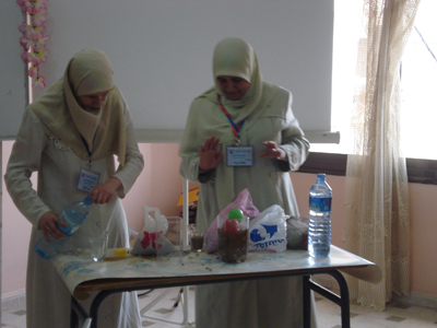 Dr. Hasnaa during a practical experiment