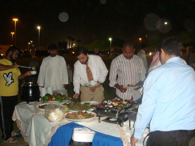 The trainees with the trainer Mohammad Pedra having a dinner on the mountains of Mebzara