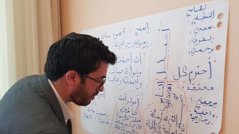 مشاركة المدرب محمود في إعداد لوحة جدارية