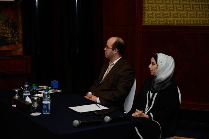 المدرب أول عادل عبادي والمدربة مي البنا أثناء مشاركتهم في حفل الافتتاح