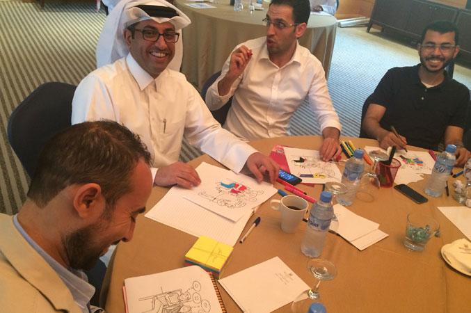 المدرب عبد الله والاستاذ عدنان والمدرب حمد والمدرب عبد الكريم ومتعة أثناء تنفيذ التمرينات