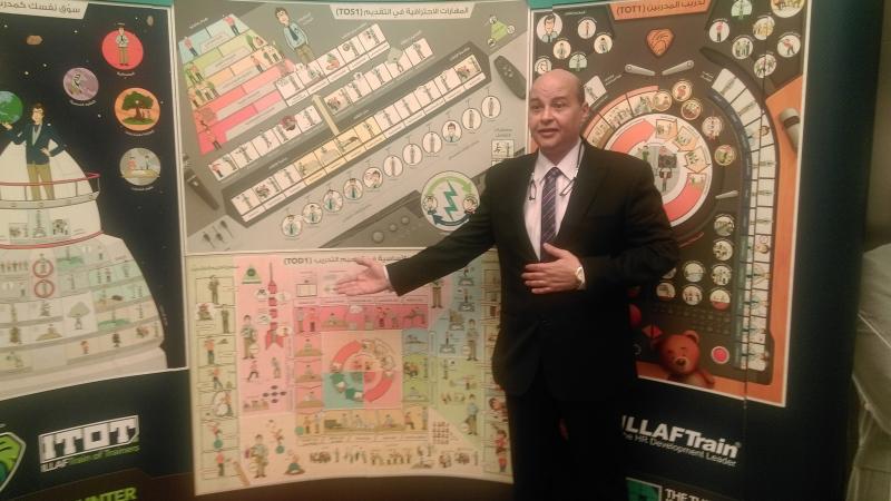 المدرب أول أحمد نوري مستخدما اللوحات الجدارية في الشرح والتقديم