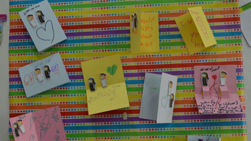 صورة للعبارات التي تمت كتابتها من قبل الأطفال