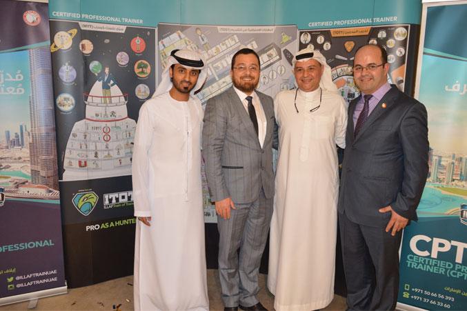 الدكتور محمد والمدرب عادل والمدرب ماجد في صورة جماعية مع المدرب أحمد عبد المعطي