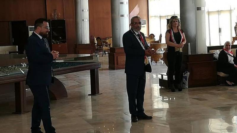 الدكتور محمد والدكتور عزام القاسم أثناء استقبال المتدربين وإلقاء كلمة الافتتاح