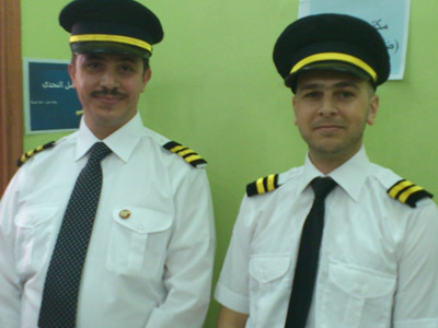 Syria - Damascus: NLP diploma trip plane number 777 flying led by Captain Ahmad Kheir al-Sadi and his assistant trainer Yousef Dawara