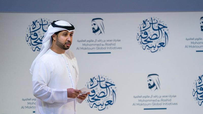 المدرب أول الإعلامي فيصل بن حريز في حفل جائزة الصحافة العربية