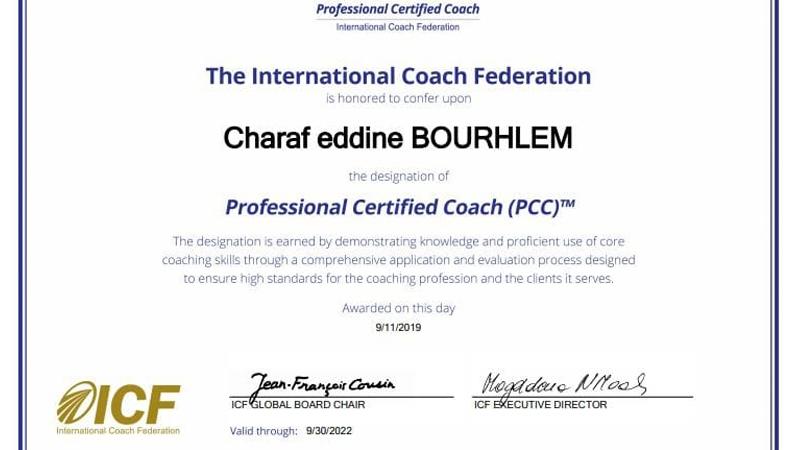 إنجاز رائع للمدرب شرف الدين بوغلم بحصوله على شهادة الكوتش المحترف المعتمد من الفدرالية العالمية للكوتتشينج ICF