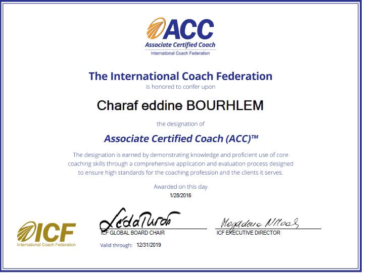 حصول المدرب بوغلم شرف الدين علي شهادة كوتش معتمد من الفدرالية العالمية للكوتشينج
