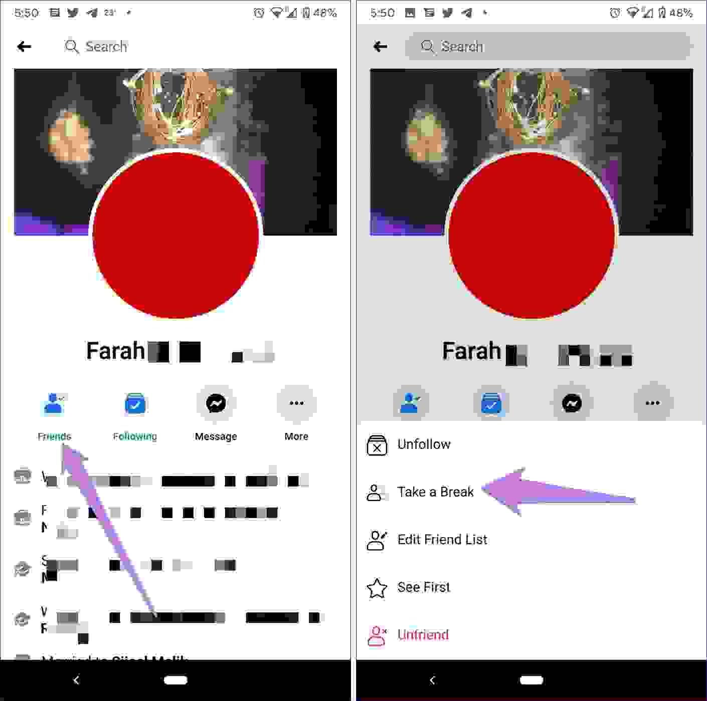 تفعيل ميزة تقييد التفاعل عن طريق تطبيق فيسبوك على أجهزة الهواتف العاملة بنظام أندرويد