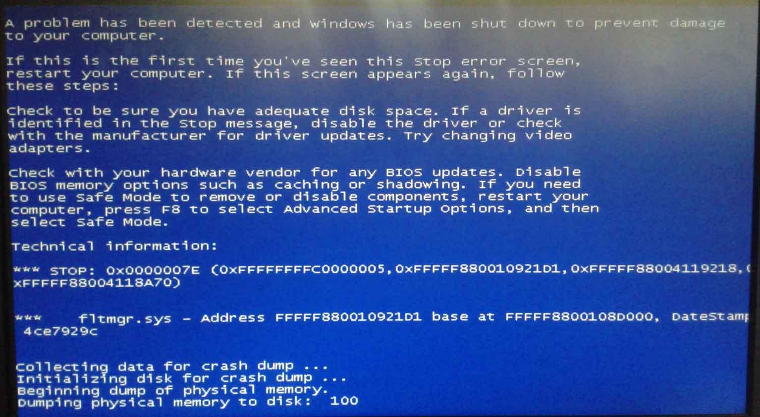 Blue Screen of Death windows 7