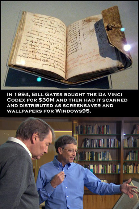 Leicester Codex, Bill gates and Windows 95 Screensaver