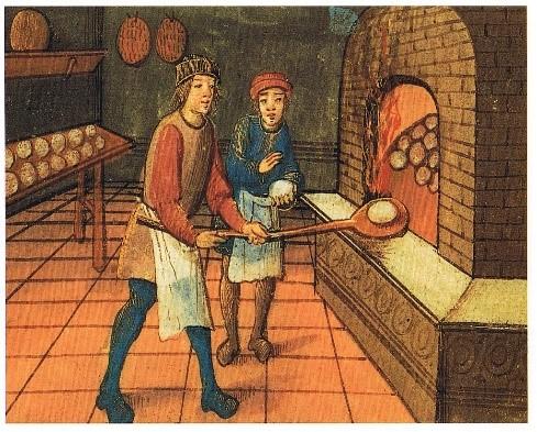 رسم لخباز مع مساعده حيث كانت الأرغفة المستديرة من بين الأرغفة الأكثر شيوعاً وانتشاراً