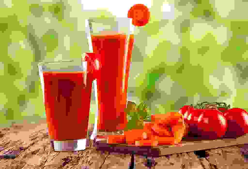 عصير الجزر، والزنجبيل، والطماطم