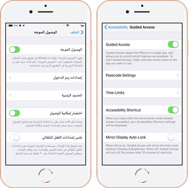 Guided Access iOS - الوصول الموجه أيفون