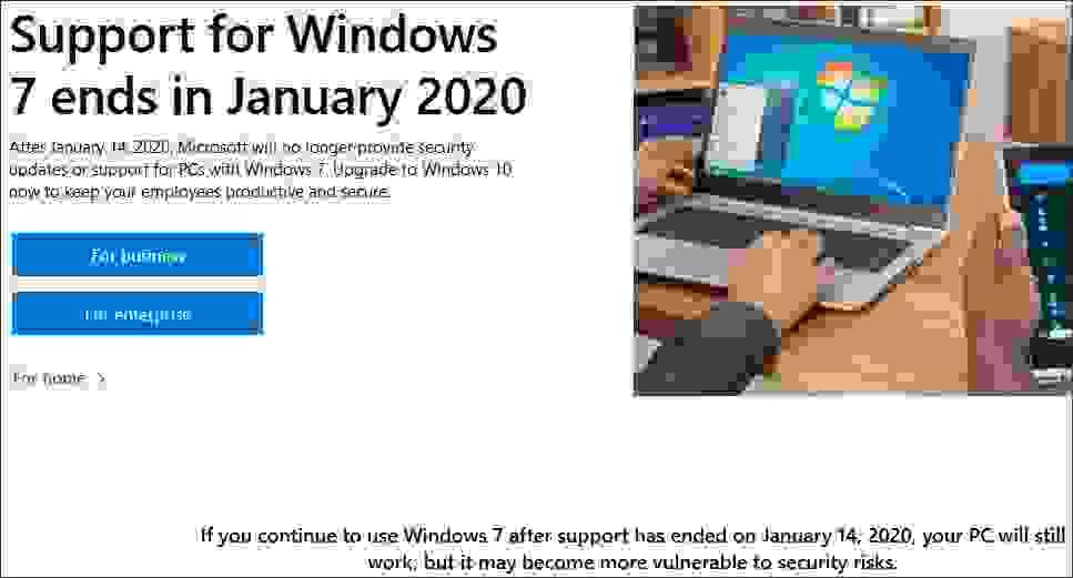 إعلان مايكروسوفت عن نهاية دعم ويندوز 7