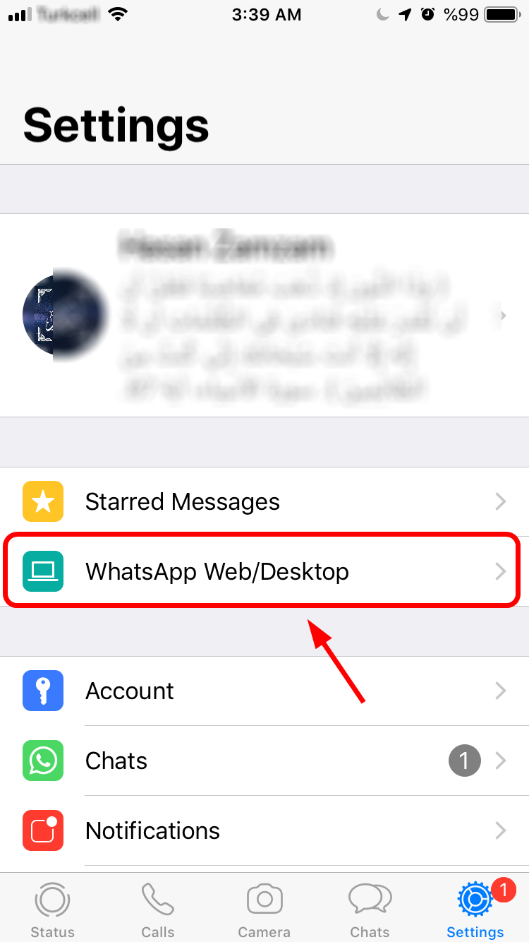 Whatsapp Web Menu - iOS